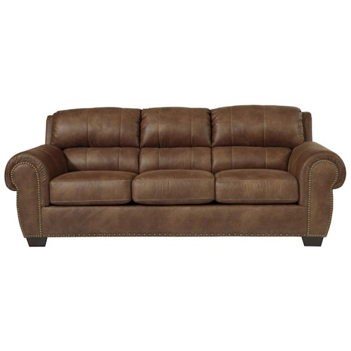 Benchcraft Burnsville Transitional Queen Sofa Sleeper with Rolled Arms & Nailhead Trim