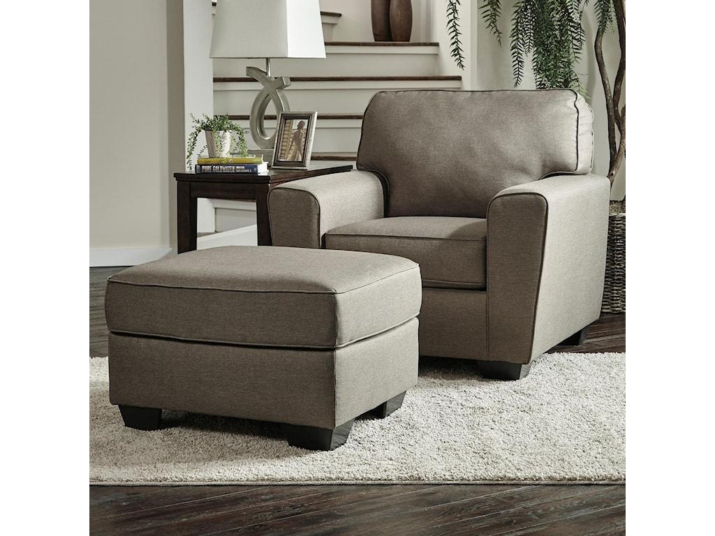 Benchcraft Calicho Contemporary Chair & Ottoman | Wayside Furniture ...