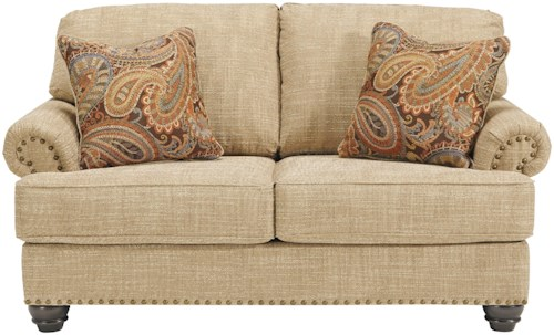 Benchcraft Candoro Loveseat with Nail Head Trim