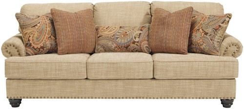 Benchcraft Candoro Queen Size Sofa Sleeper with Nail Head Trim