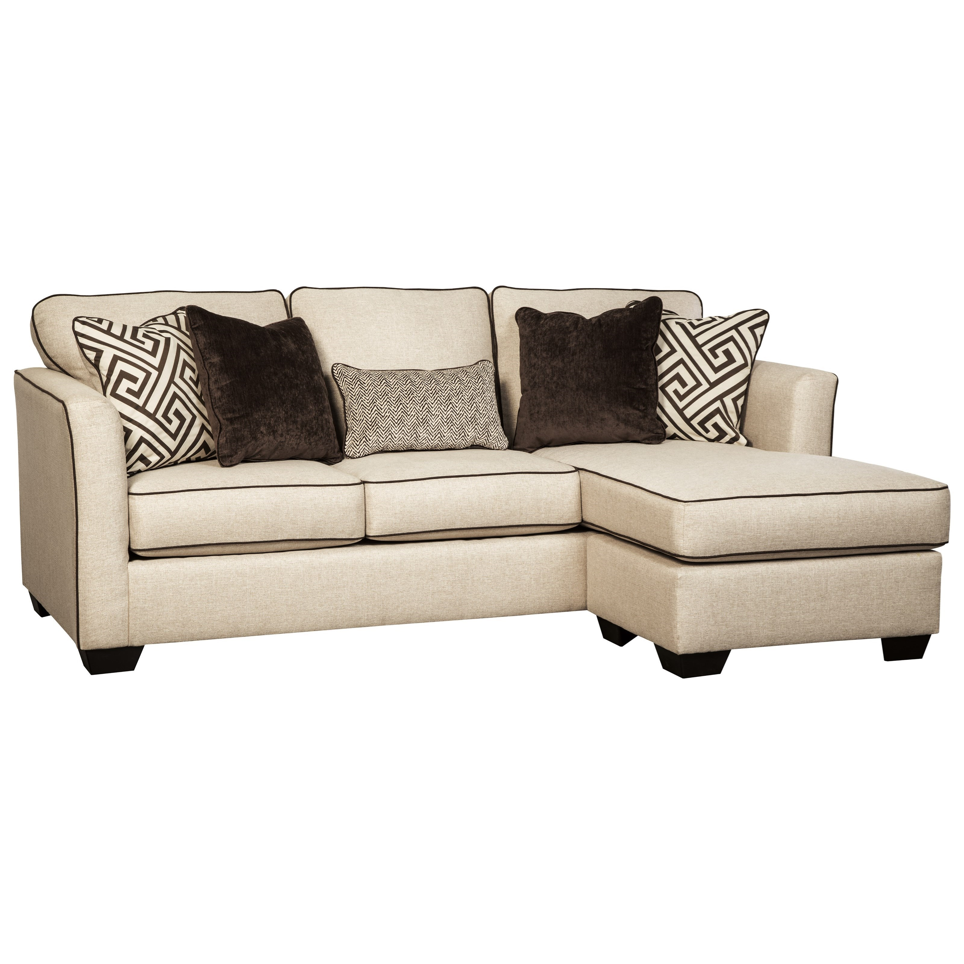 Benchcraft Carlinworth Contemporary Sofa Chaise With Contrast Welts   Becku0027s  Furniture   Sofas