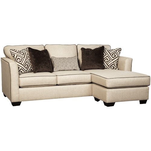Benchcraft Carlinworth Contemporary Queen Sofa Chaise Sleeper with Contrast Welts