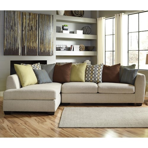 Benchcraft Casheral Contemporary 2-Piece Sectional with Left Chaise & Loose Back Pillows