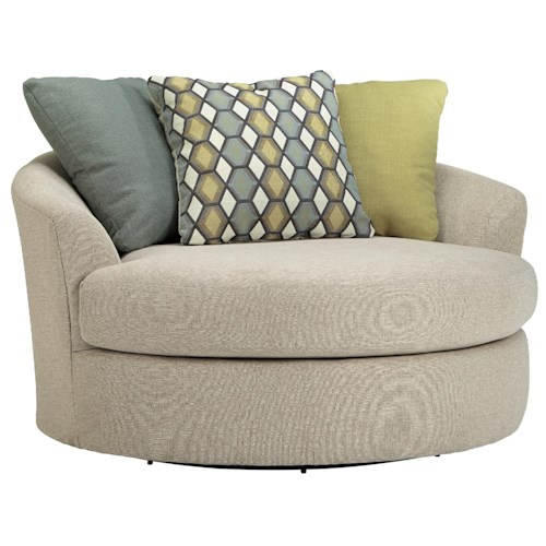 Benchcraft Casheral Round Oversized Swivel Accent Chair with Loose Back Pillows