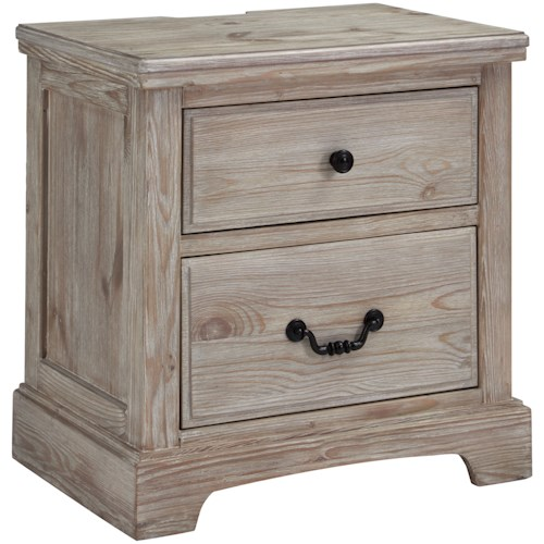 Benchcraft Charmyn Relaxed Vintage 2 Drawer Night Stand with Outlet and USB Port