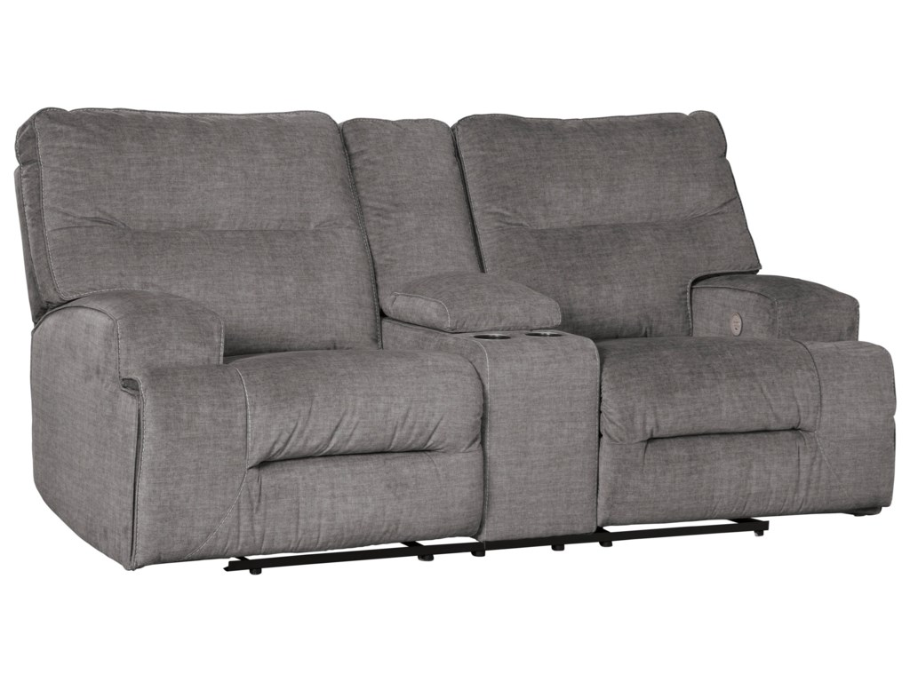 Benchcraft by Ashley CoombsDouble Reclining Power Loveseat w/ Console