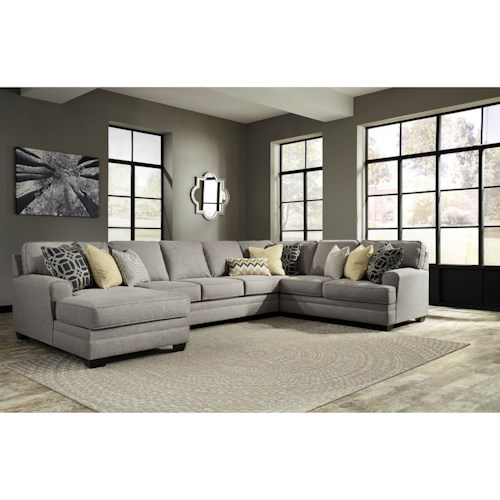 Benchcraft cresson contemporary 4 piece sectional with for 4 piece sectional sofa with chaise
