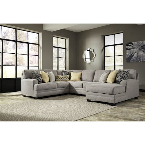 Benchcraft Cresson Contemporary 4-Piece Sectional with Chaise