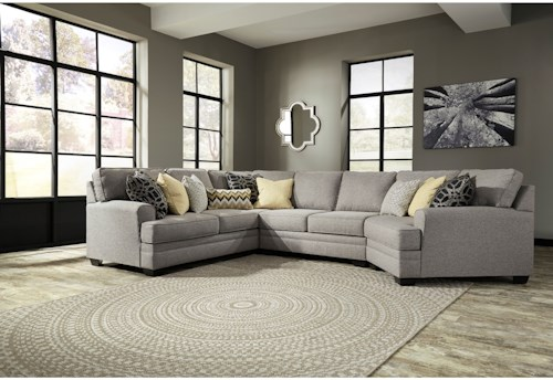 Benchcraft cresson contemporary 4 piece sectional with for 4 piece living room furniture