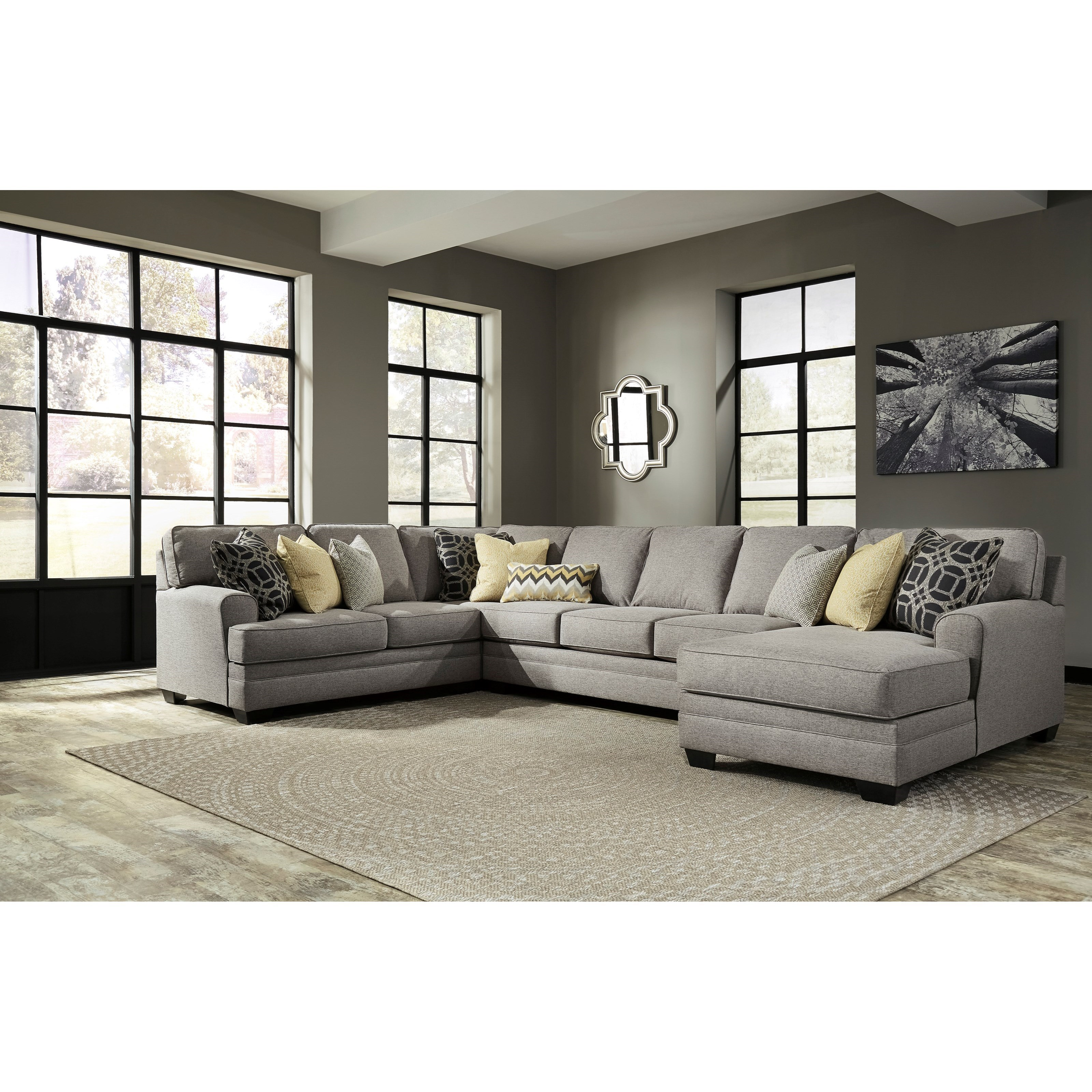 Benchcraft Cresson Contemporary 4 Piece Sectional With Chaise U0026 Armless Sofa