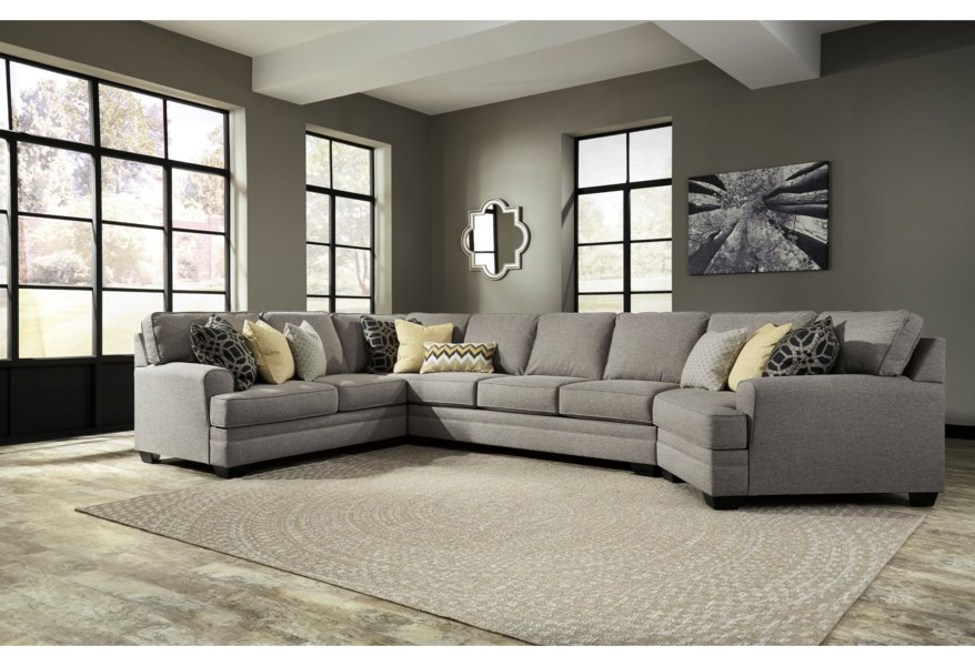 Cresson Contemporary 4-Piece Sectional w/ Cuddler & Armless Sofa by  Benchcraft at Dunk & Bright Furniture