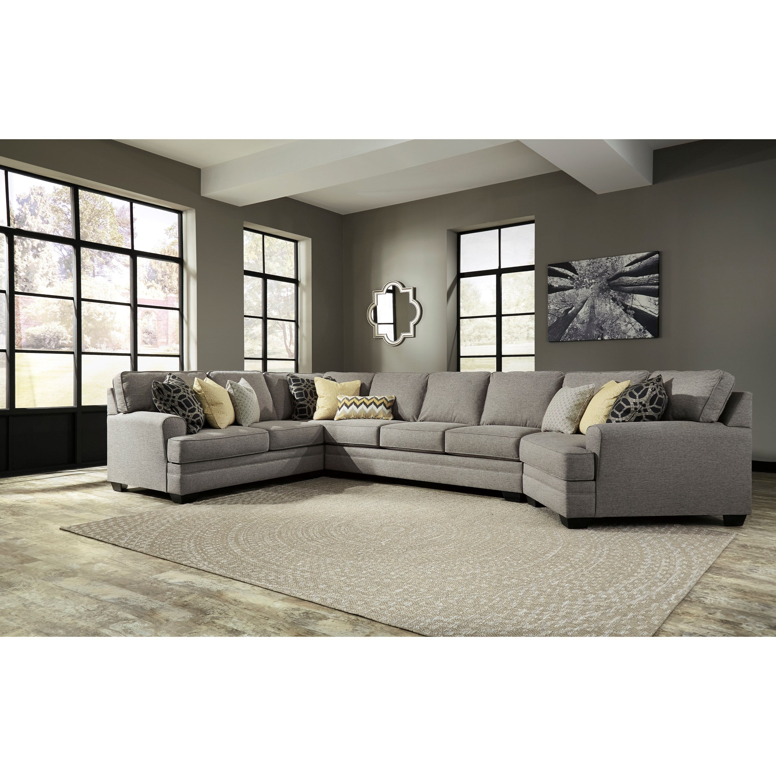 Benchcraft Cresson Contemporary 4 Piece Sectional W/ Cuddler U0026 Armless Sofa