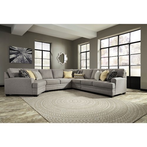 Benchcraft cresson contemporary 5 piece sectional with for 5 piece living room furniture