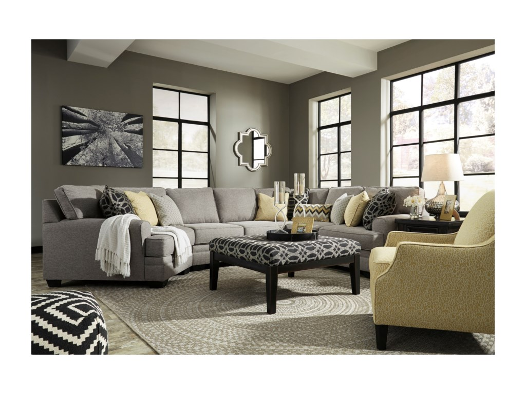 Benchcraft Cresson4-Piece Sectional with Cuddler