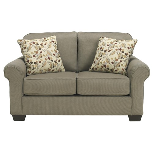 Benchcraft Danely - Dusk Transitional Loveseat with Rolled Arms