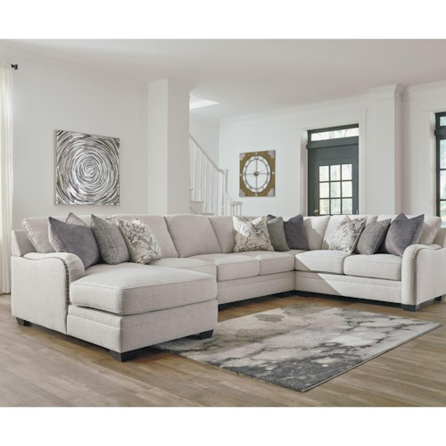 Benchcraft Dellara Casual 5 Piece Sectional With Left Chaise