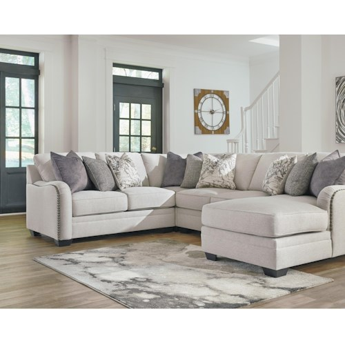 Benchcraft Dellara Casual 4 Piece Sectional with Right Chaise