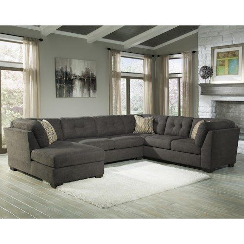 Benchcraft Delta City - Steel 3-Piece Modular Sectional w/ Armless Sleeper & Left Chaise