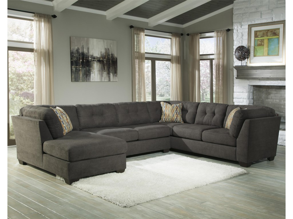 Benchcraft Delta City - Steel3-Piece Sectional w/ Sleeper & Left Chaise