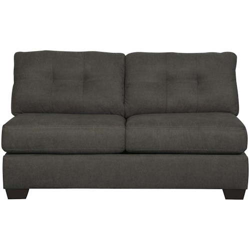 Benchcraft Delta City - Steel Contemporary Armless Loveseat with Tufted Back