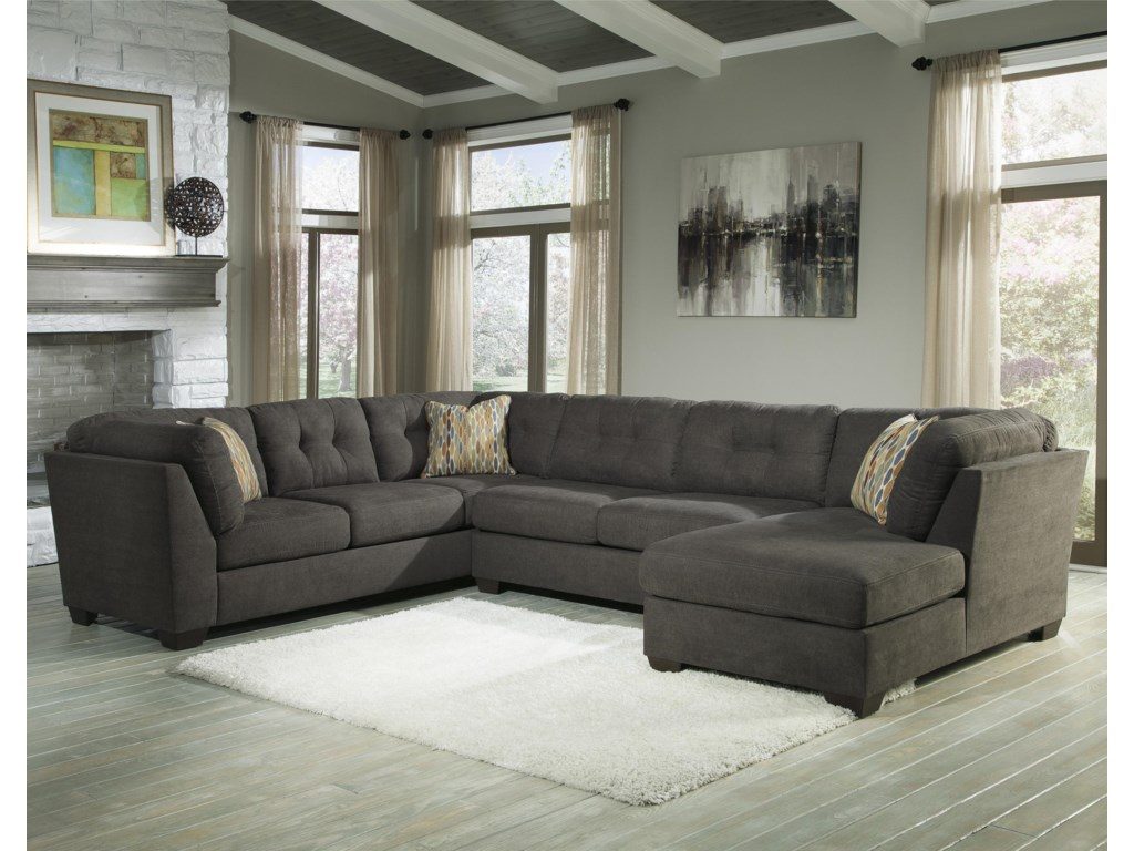Benchcraft Delta City Steel3 Piece Modular Sectional With Right Chaise