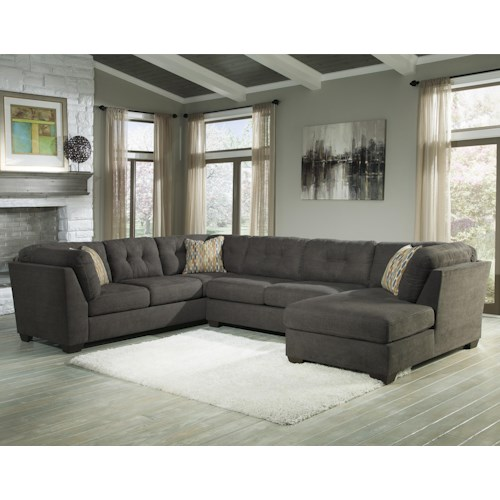 Benchcraft Delta City - Steel 3-Piece Modular Sectional w/ Armless Sleeper & Right Chaise