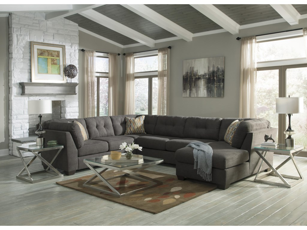 Benchcraft Delta City - Steel3-Piece Sectional w/ Sleeper & Right Chaise