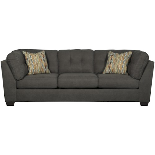 Benchcraft Delta City - Steel Contemporary Sofa with Shelter Arms and Tufted Back
