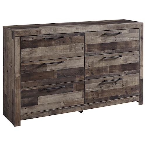 Benchcraft Derekson Rustic Modern Dresser with 6 Drawers
