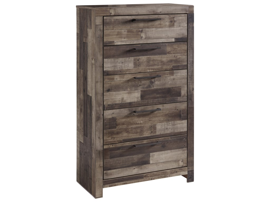 41a9f842660a Benchcraft by Ashley Derekson B200-46 Rustic Modern 5-Drawer Chest ...