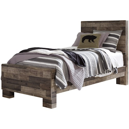 Benchcraft Derekson Rustic Modern Twin Panel Bed | Furniture Options ...