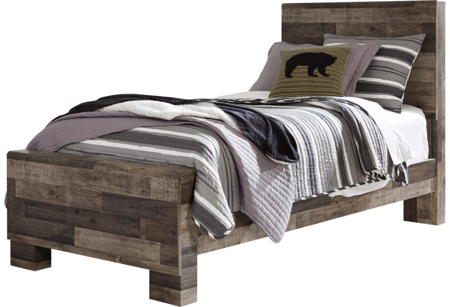 Derekson Rustic Modern Twin Panel Bed by Benchcraft at Dunk & Bright  Furniture