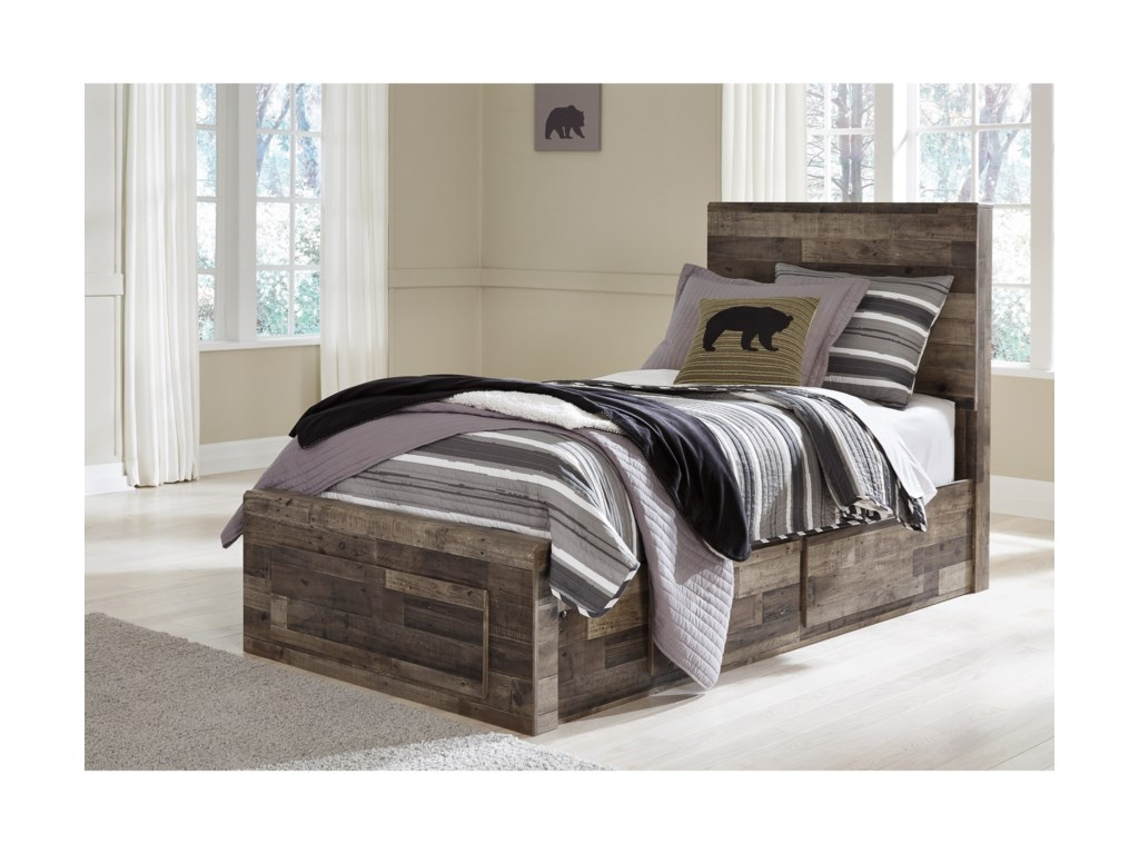 b4edb6a5c2c0 Benchcraft Derekson Rustic Modern Twin Storage Bed with 5 Drawers ...