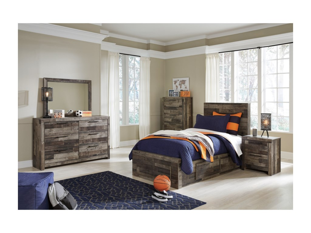 Benchcraft DereksonTwin Storage Bed with 5 Drawers