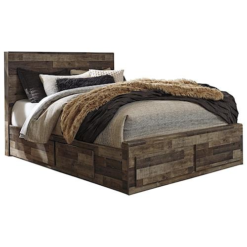 Benchcraft Derekson Rustic Modern Queen Storage Bed with 6 Drawers
