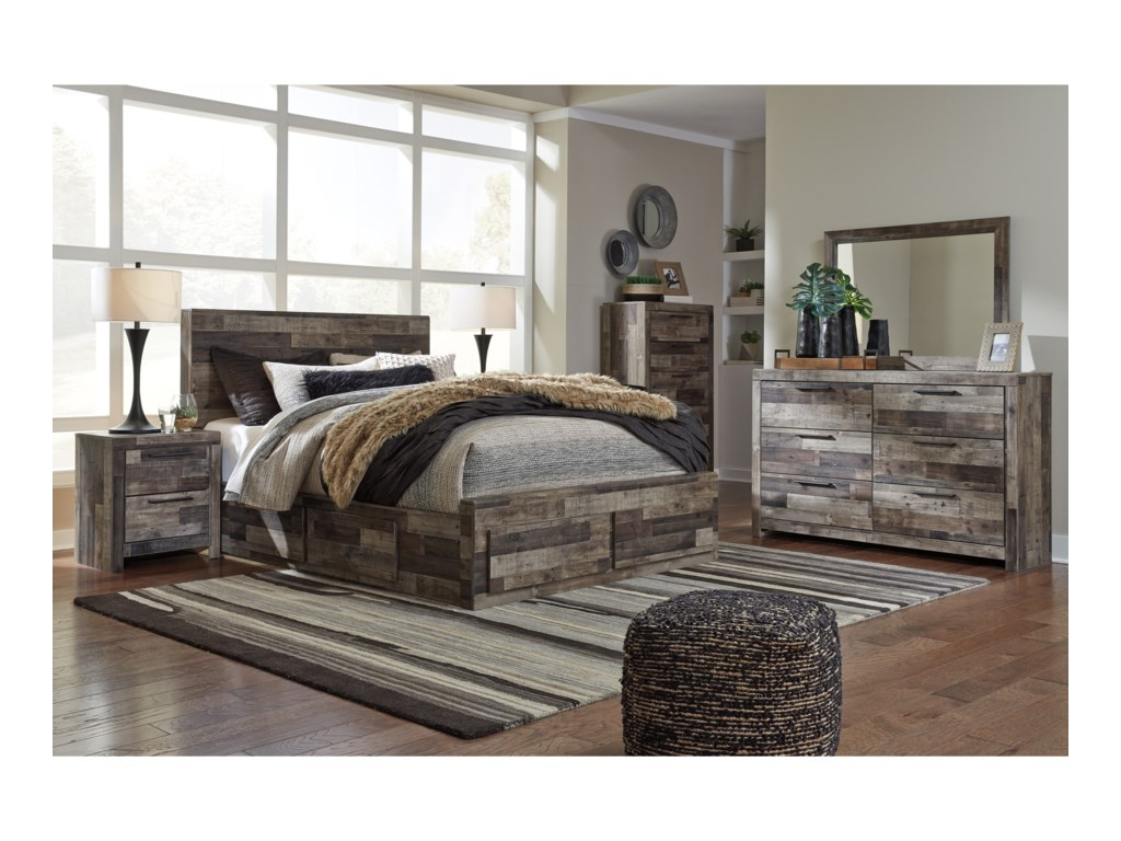 778d2e1a490d Benchcraft Derekson Rustic Modern Queen Storage Bed with 6 Drawers ...