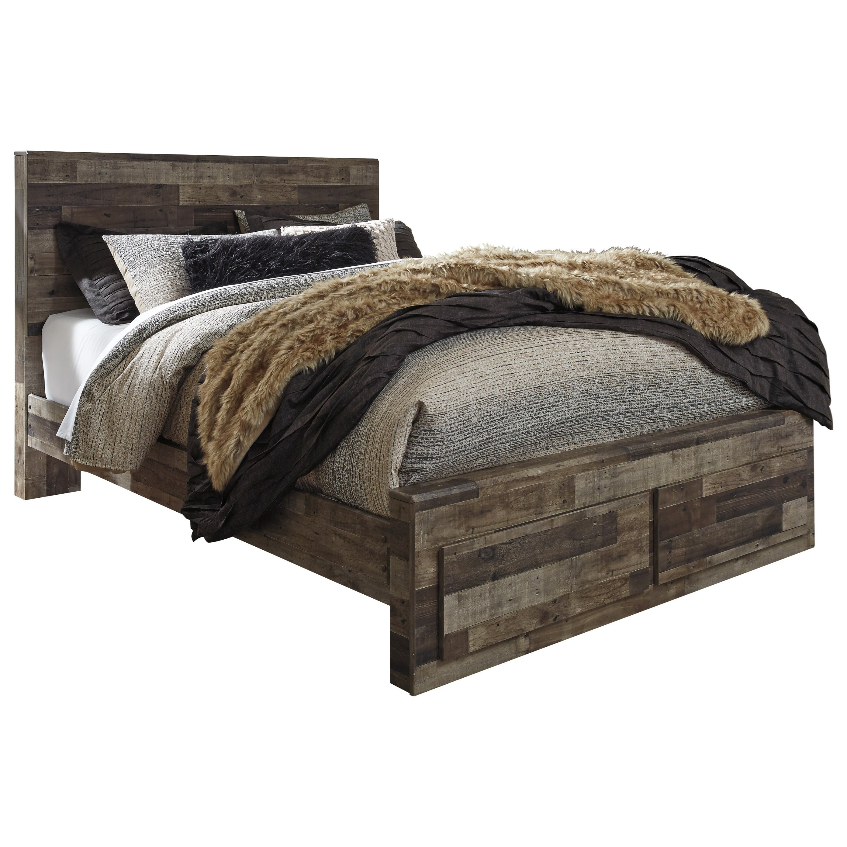 Benchcraft By Ashley Derekson Rustic Modern Queen Storage Bed With 2 Footboard Drawers Royal Furniture Platform Beds Low Profile Beds