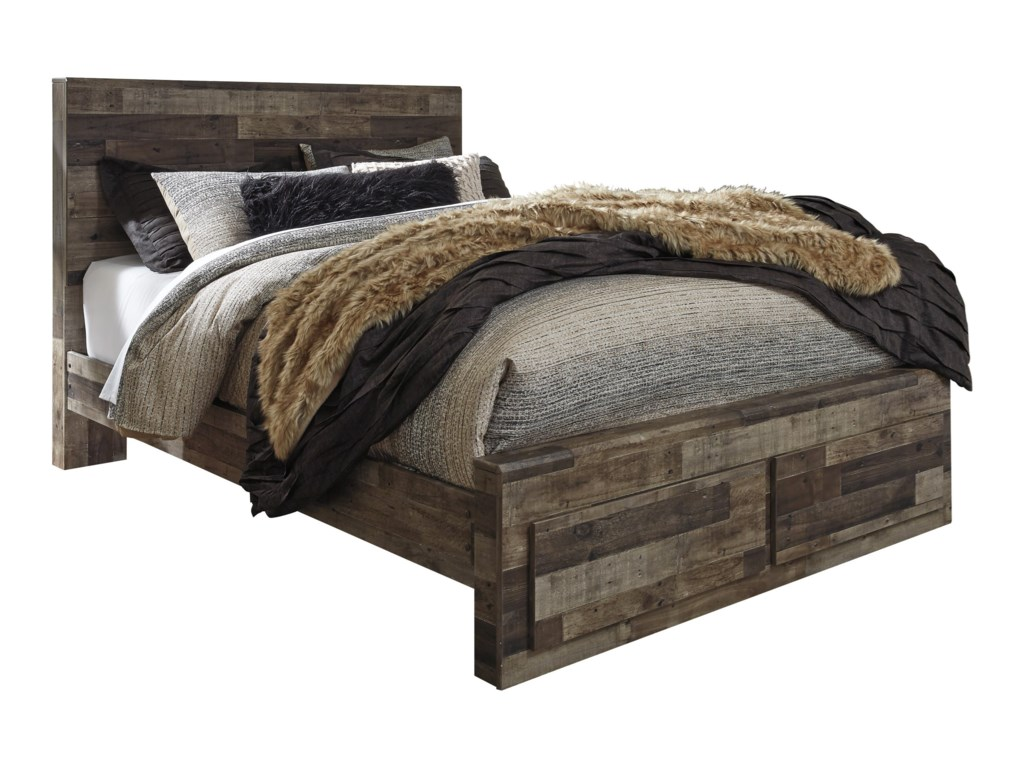 9e40e6279e7f Benchcraft Derekson Rustic Modern Queen Storage Bed with 2 Footboard ...