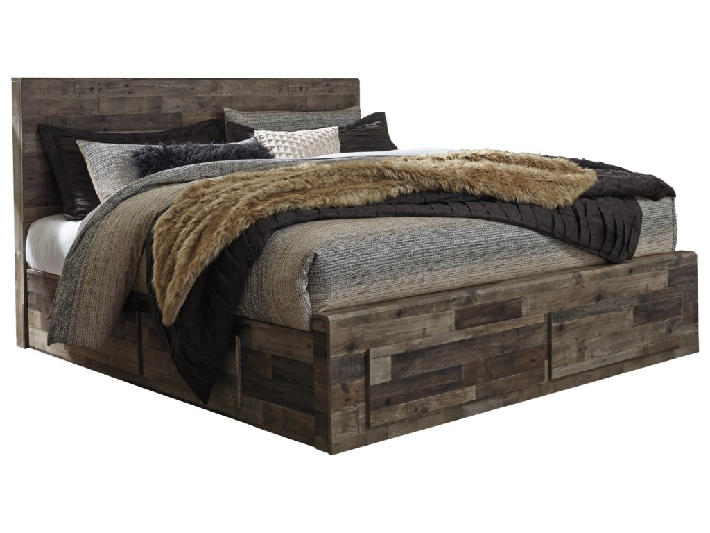fd905315882a Benchcraft by Ashley Derekson Rustic Modern King Storage Bed with 6 ...