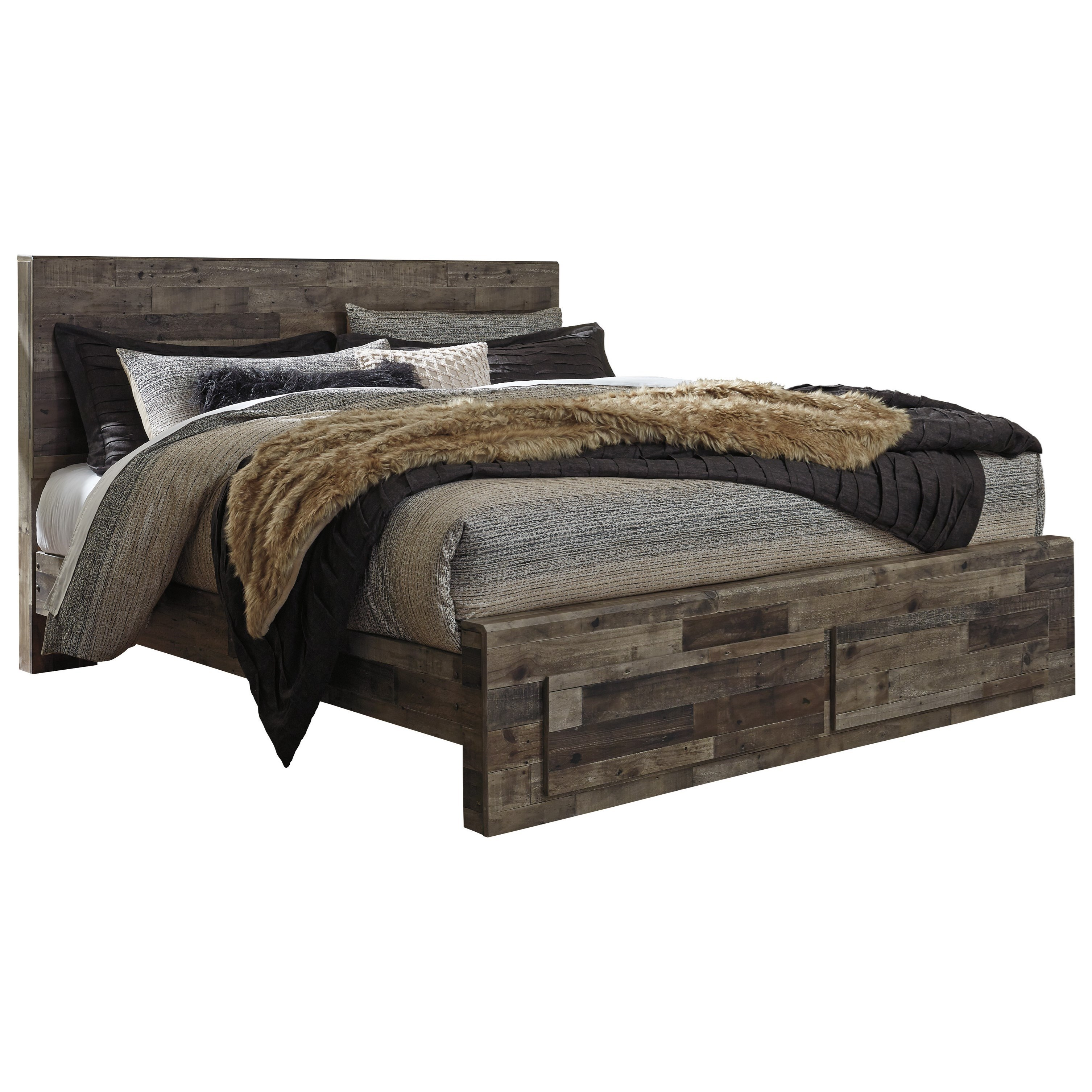 Benchcraft By Ashley Derekson Rustic Modern King Storage Bed With 2  Footboard Drawers