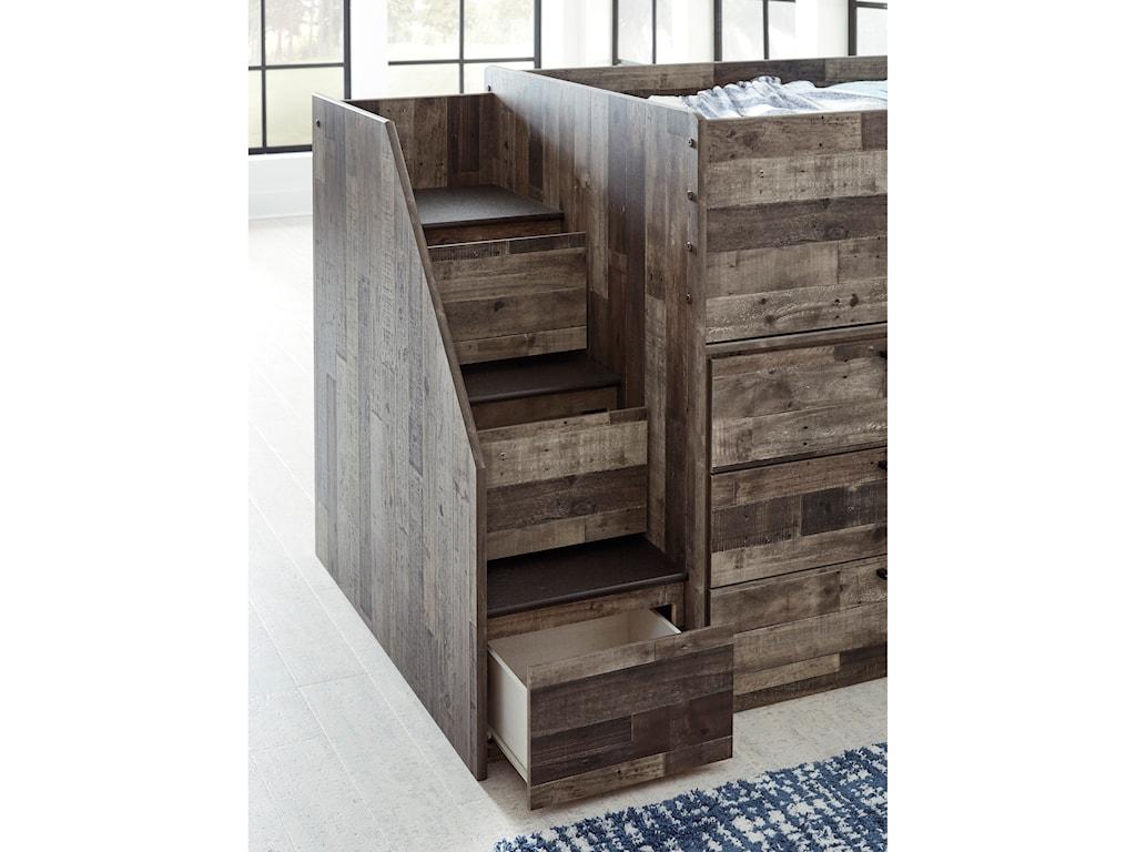Benchcraft DereksonLow Loft Bed with Bookcase & Drawer Storage