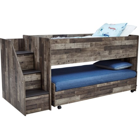 Low Loft Bed with Caster Bed