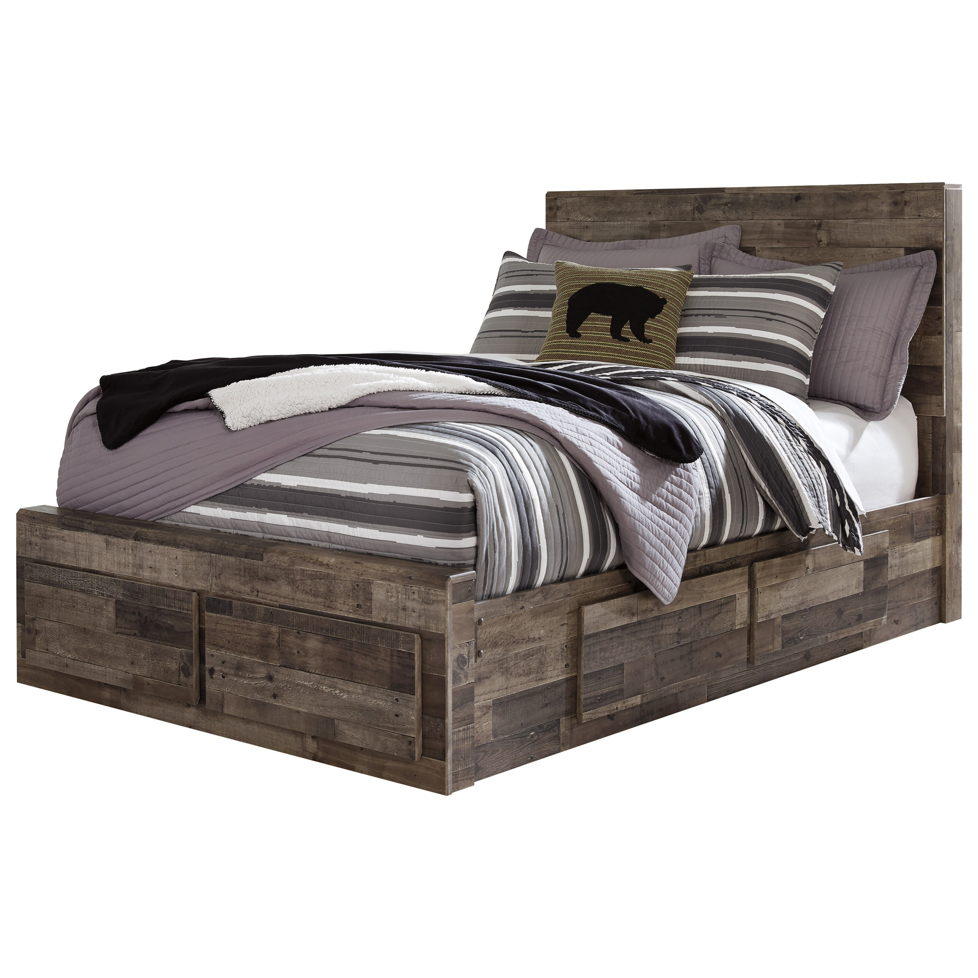 Benchcraft By Ashley Derekson Rustic Modern Full Storage Bed With 6 Drawers Royal Furniture Platform Beds Low Profile Beds