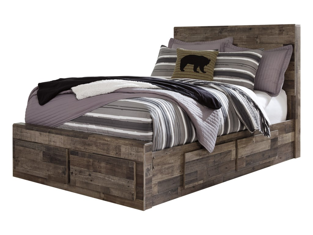 d8d566c6be23 Benchcraft by Ashley Derekson Rustic Modern Full Storage Bed with 6 ...