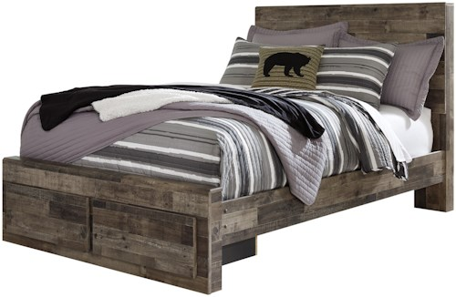 Benchcraft Derekson Rustic Modern Full Storage Bed with 2 Footboard Drawers