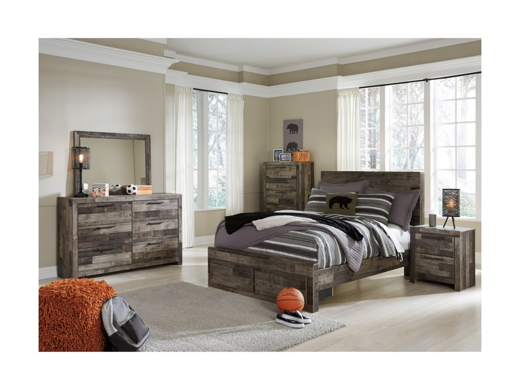 ab54bd066360 Benchcraft Derekson Rustic Modern Full Storage Bed with 2 Footboard ...