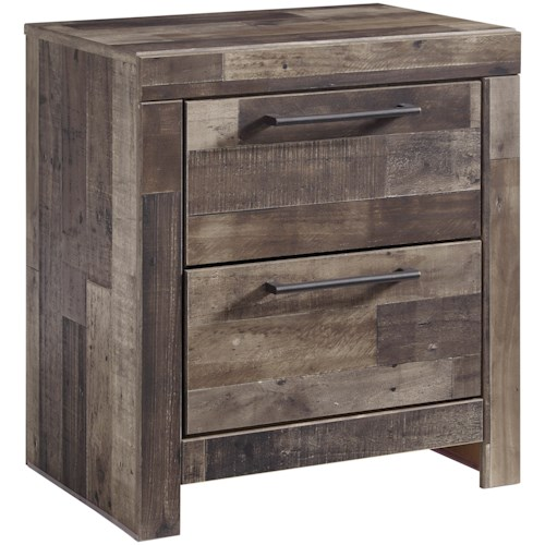 Benchcraft Derekson Two Drawer Night Stand with USB Chargers