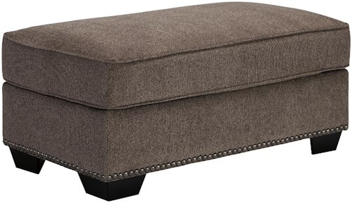 Benchcraft Emelen Ottoman with Nailhead Trim
