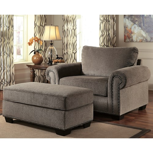 Benchcraft Emelen Transitional Chair and a Half & Ottoman