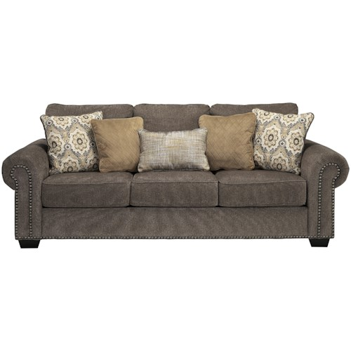 Benchcraft Emelen Transitional Sofa with Nailhead Trim & Coil Seating